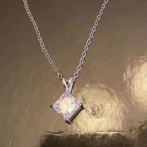 Cubic Zirconia & Silvertone Necklace